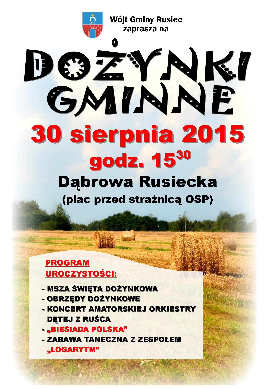plakat - Dożynki Gminne 2015